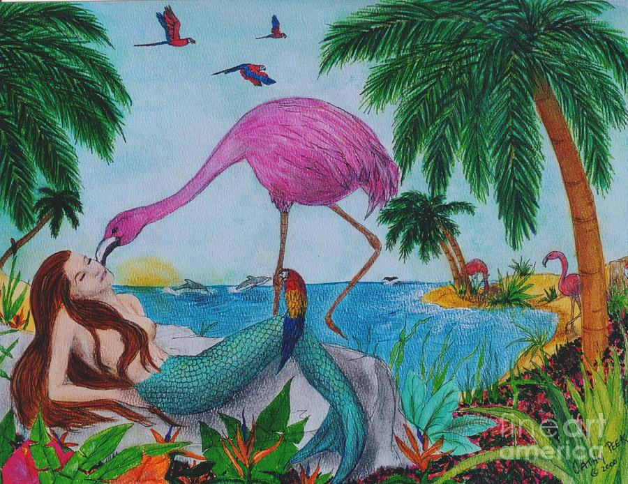 Mermaid Flamingo Parrots Tropical Art Peek by Cathy Peek: fineartamerica.com/featured/mermaid-flamingo-parrots-tropical-art...