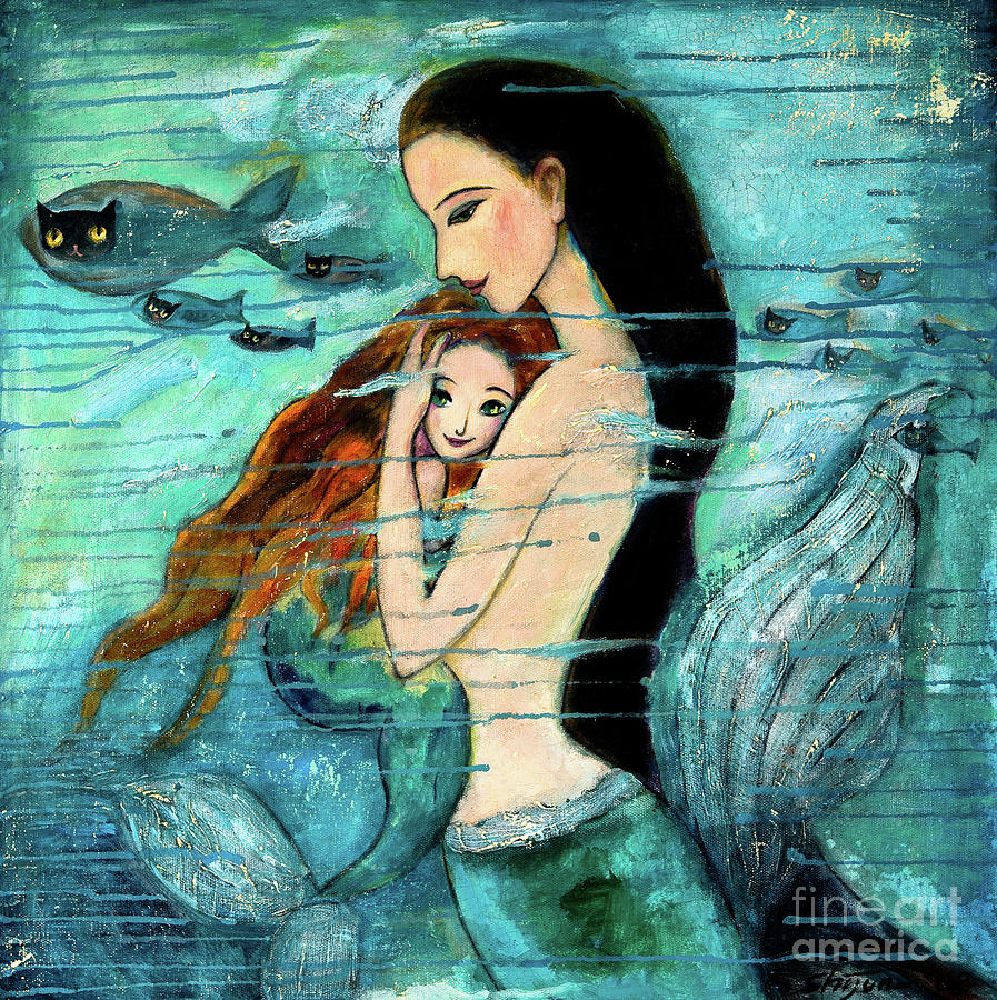 Mermaid Mother And Child Painting  - Mermaid Mother And Child Fine Art Print