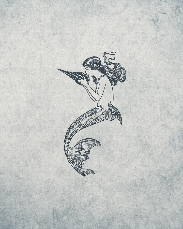 Mermaid Nautical Design Drawing By World Art Prints And