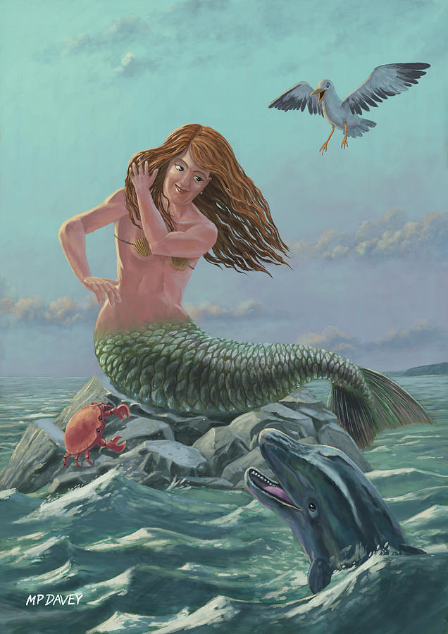 Mermaid On Rock Painting  - Mermaid On Rock Fine Art Print