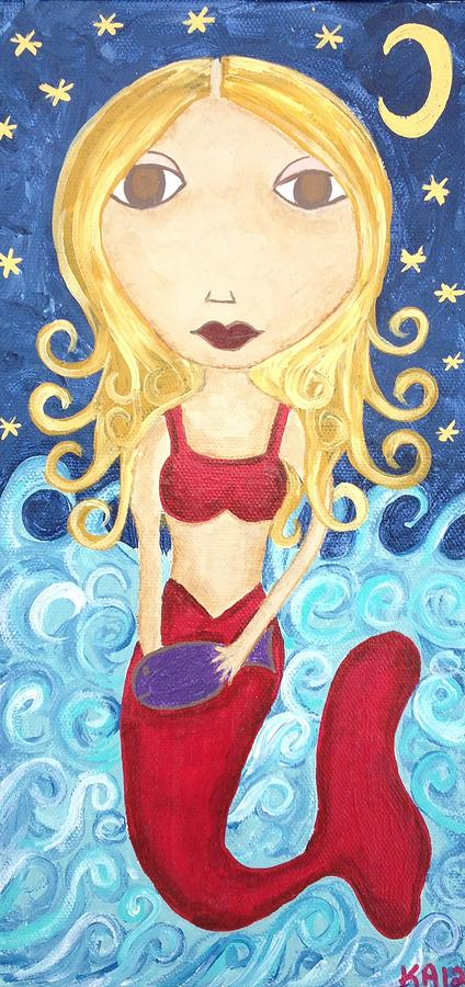 Mermaid Under The Moon Painting