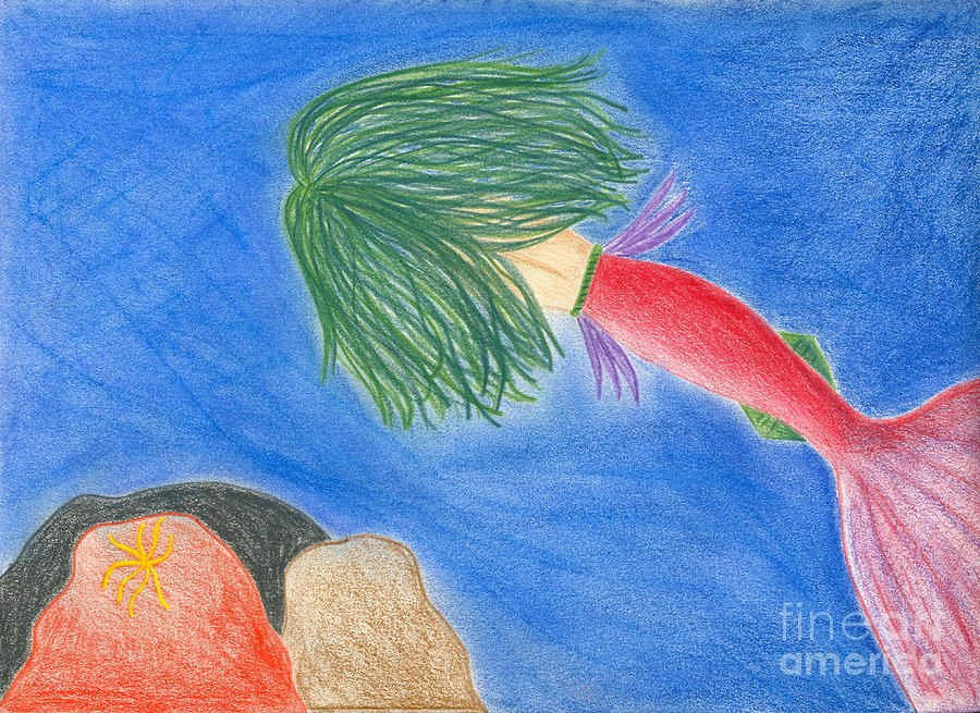 Mermaids Cave Drawing  - Mermaids Cave Fine Art Print