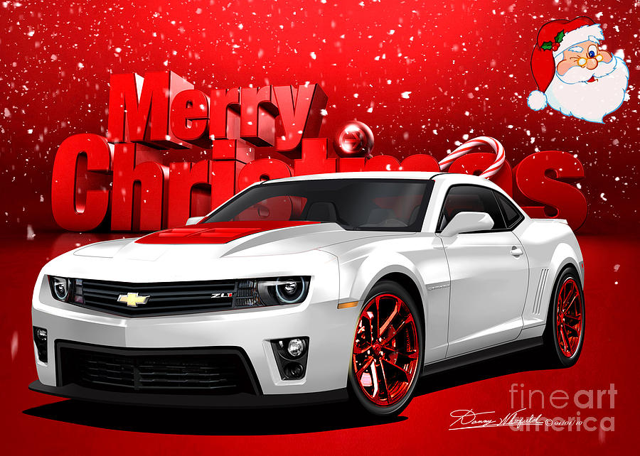 Merry Christmas Camaro Friends Drawing  - Merry Christmas Camaro Friends Fine Art Print