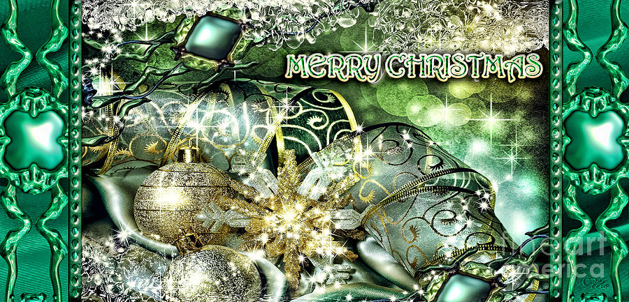 Merry Christmas Green Digital Art  - Merry Christmas Green Fine Art Print