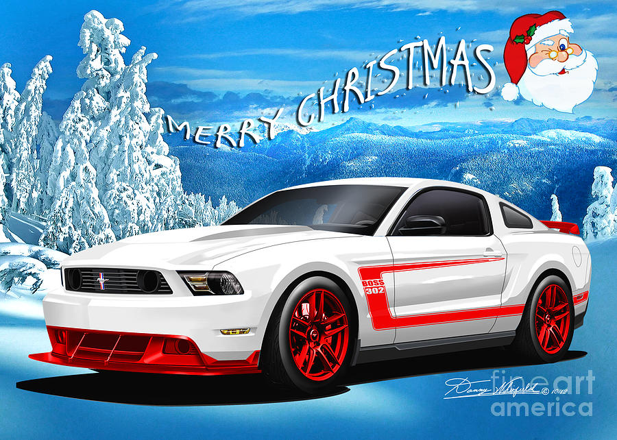 Merry Christmas Mustang Friends Drawing  - Merry Christmas Mustang Friends Fine Art Print