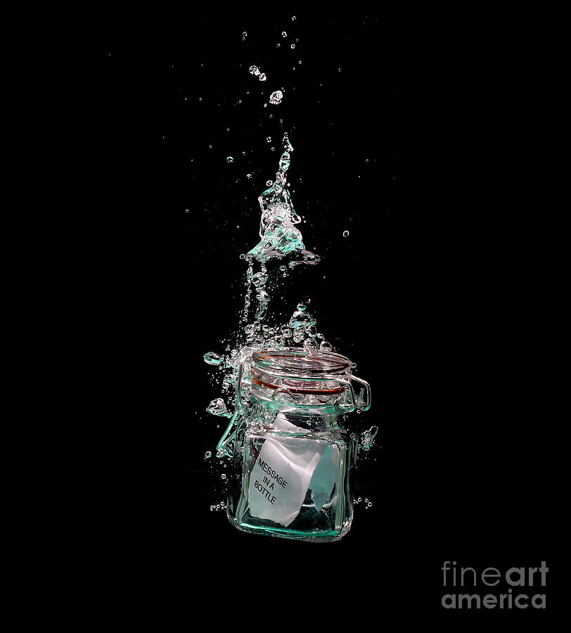 Water Photograph - Message In Sinking Bottle by Simon Bratt Photography LRPS