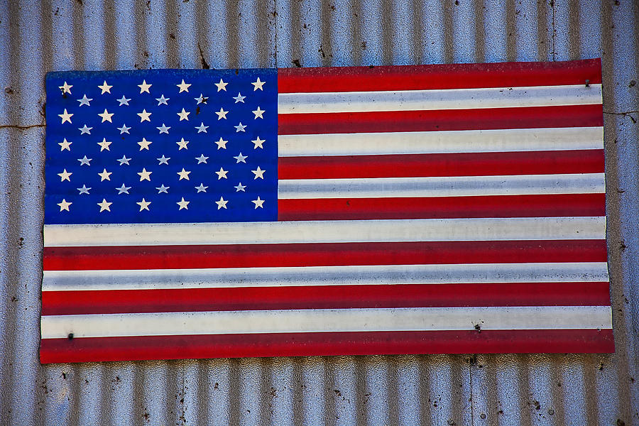 Metal American Flag Photograph