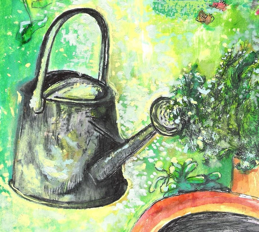 Metal Watering Can Drawing  - Metal Watering Can Fine Art Print