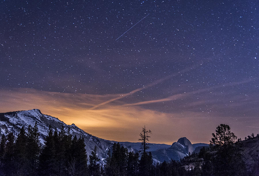 Meteor Over Half Dome Photograph