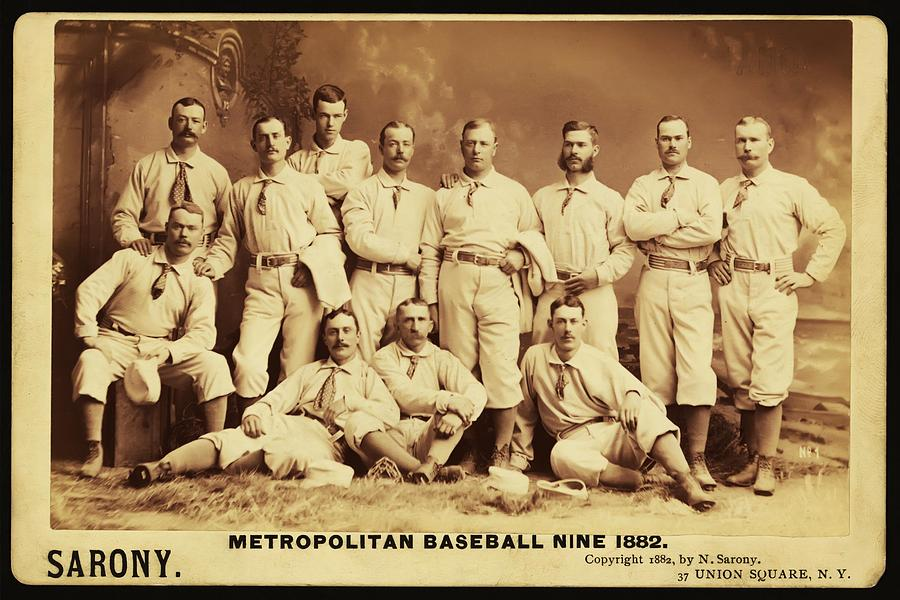 Metropolitan Baseball Nine Team In 1882 Photograph  - Metropolitan Baseball Nine Team In 1882 Fine Art Print