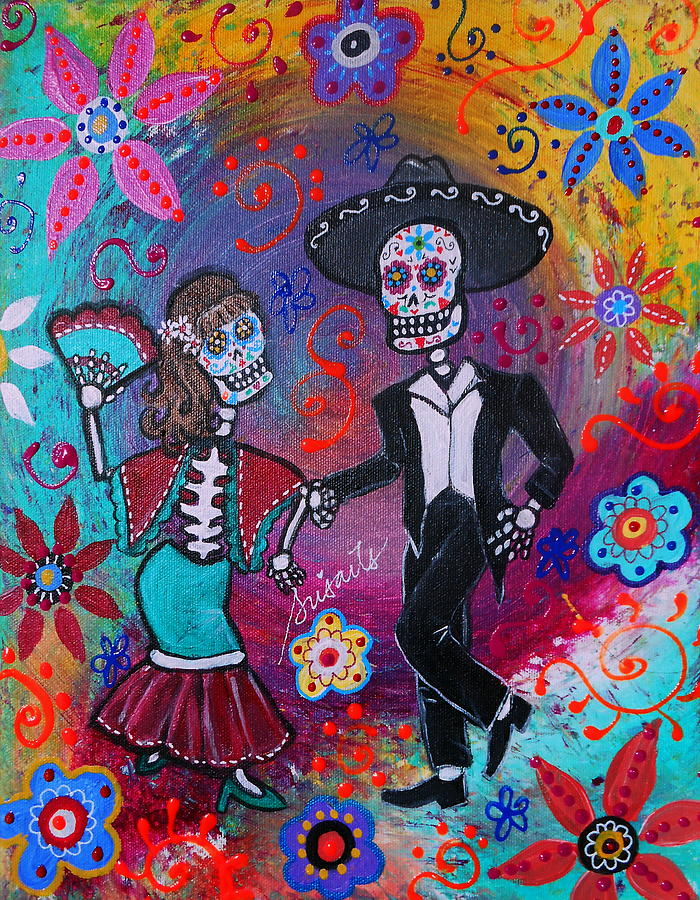 Mexican Couple Bailar Dancers Mariachi Painting  - Mexican Couple Bailar Dancers Mariachi Fine Art Print