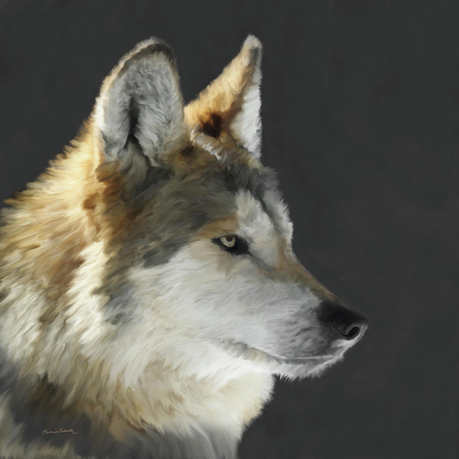 Mexican Grey Wolf Portrait Freehand Painting  - Mexican Grey Wolf Portrait Freehand Fine Art Print