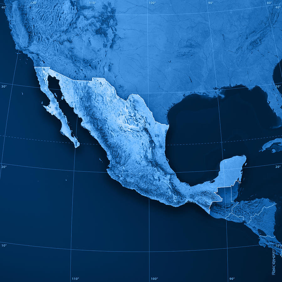 Mexico Topographic Map Digital Art