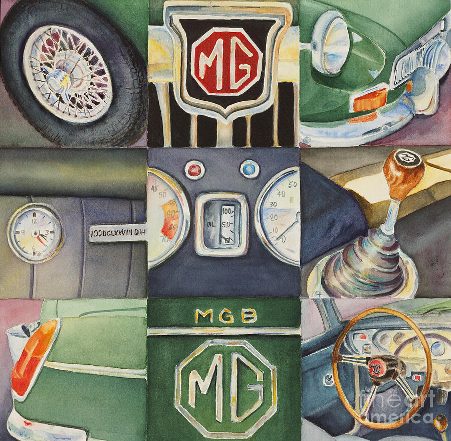 Mg Car Collage Painting  - Mg Car Collage Fine Art Print
