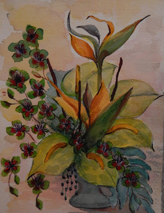 Flower Arrangement Painting - Mi Arrangement by Shirley Watts