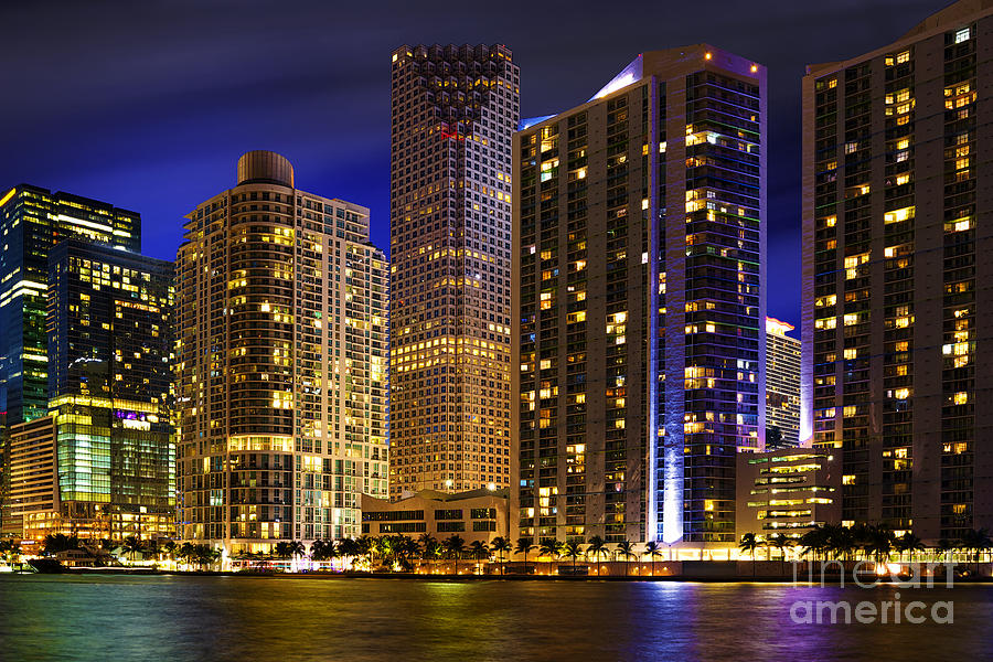 Miami Skyline At Night Photograph  - Miami Skyline At Night Fine Art Print