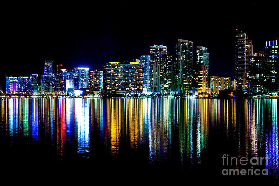 Architecture Photograph - Miami Skyline High Res by Rene Triay Photography