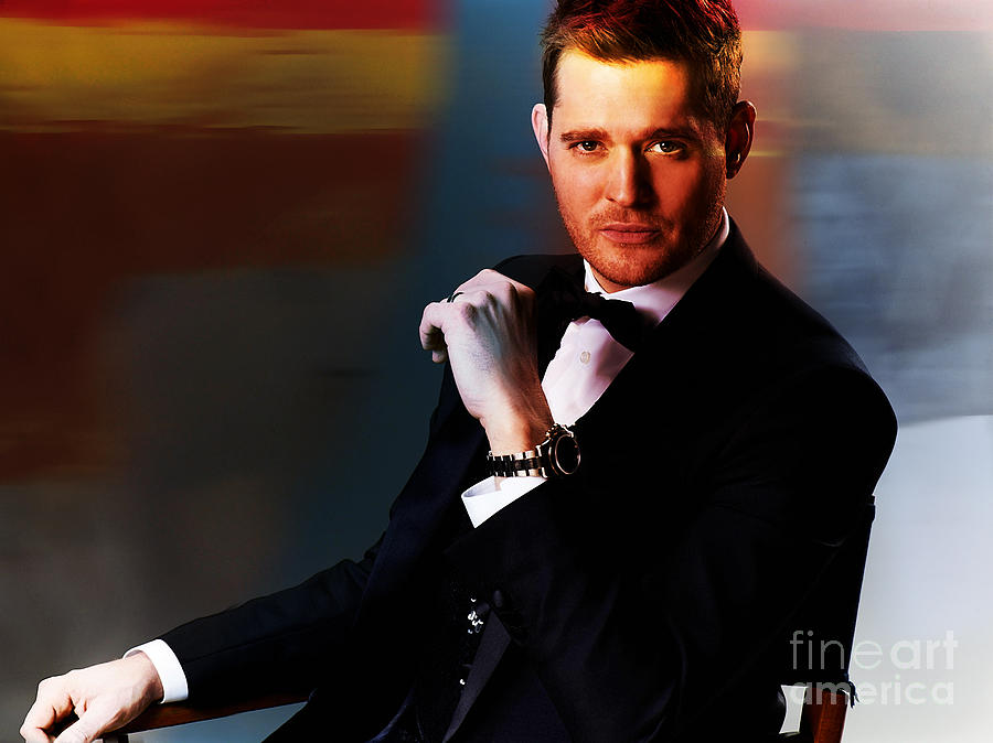 Celebrity Mixed Media - Michael Buble by Marvin Blaine