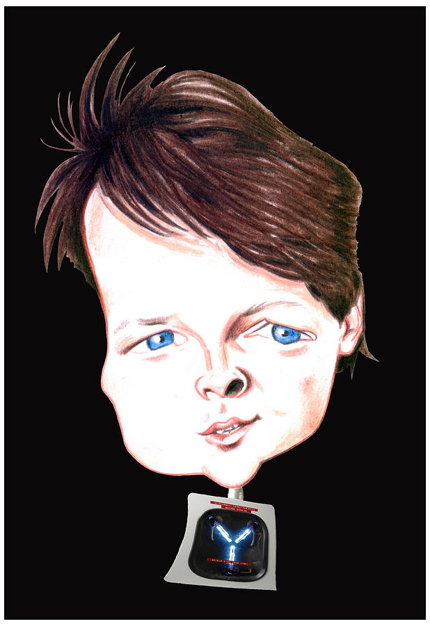 Michael J. Fox Illustration Drawing  - Michael J. Fox Illustration Fine Art Print