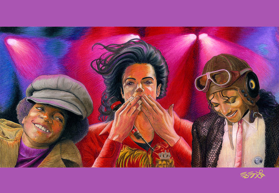 Michael Jackson Farewell Triple Painting  - Michael Jackson Farewell Triple Fine Art Print