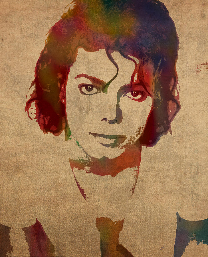 Michael Jackson King Of Pop Watercolor Portrait On Worn Distressed Canvas Mixed Media