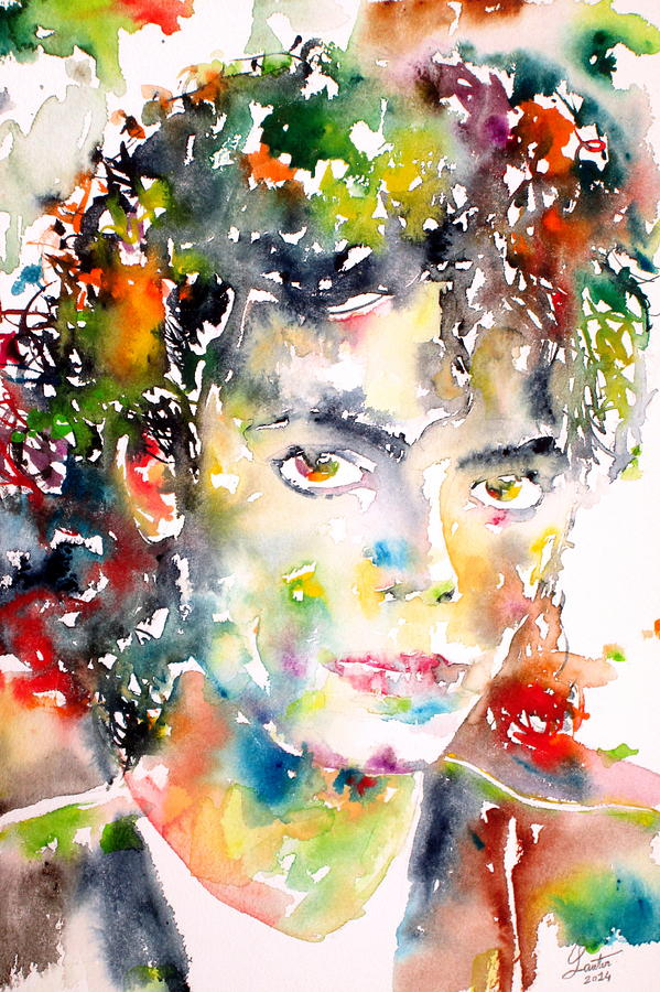 Michael Jackson Watercolor Portrait Painting  - Michael Jackson Watercolor Portrait Fine Art Print