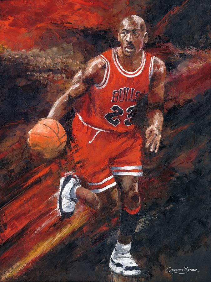 Michael Jordan Chicago Bulls Basketball Legend Painting