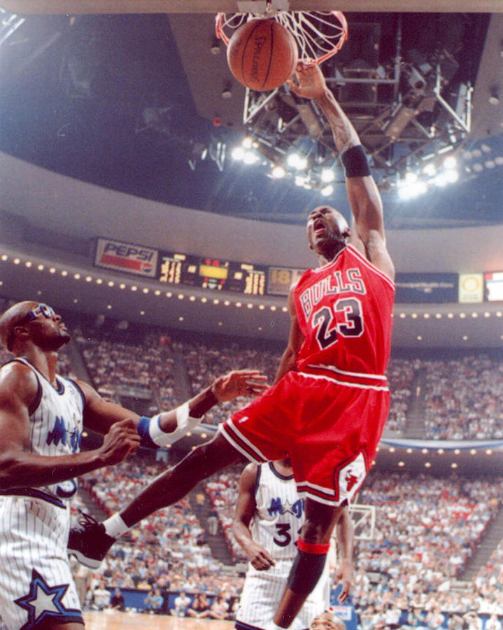 Michael Jordan Dunks With Left Hand Photograph