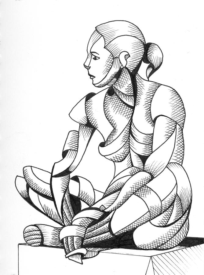 Michaela 24-3 - Abstract Nude Figurative Pen And Ink Drawing Painting