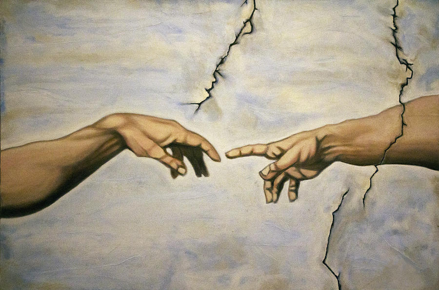 Michelangelo creation of adam the hands painting by adam for Creation of adam mural