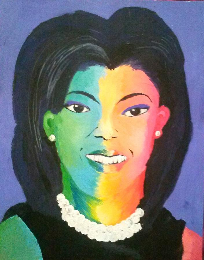 Michelle Obama Color Effect Painting  - Michelle Obama Color Effect Fine Art Print