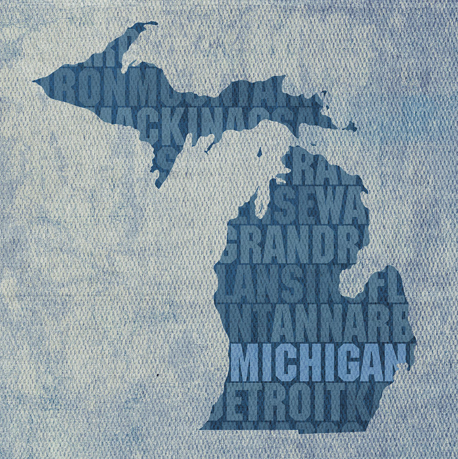 Michigan Great Lake State Word Art On Canvas Mixed Media  - Michigan Great Lake State Word Art On Canvas Fine Art Print