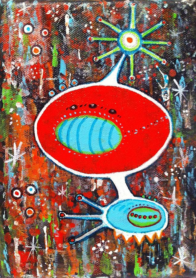 Outer Space Jetson's Mid Century Abstract Painting - Microcosmic Twilight by Debra Jacobson
