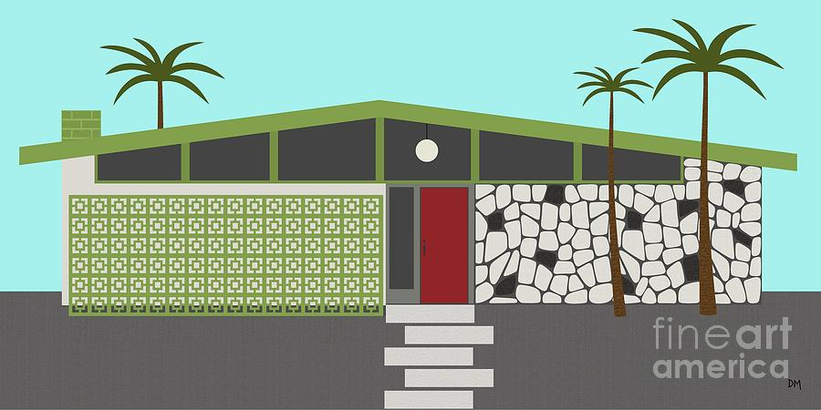 Mid Century Modern House 4 is a piece of digital artwork by Donna ...