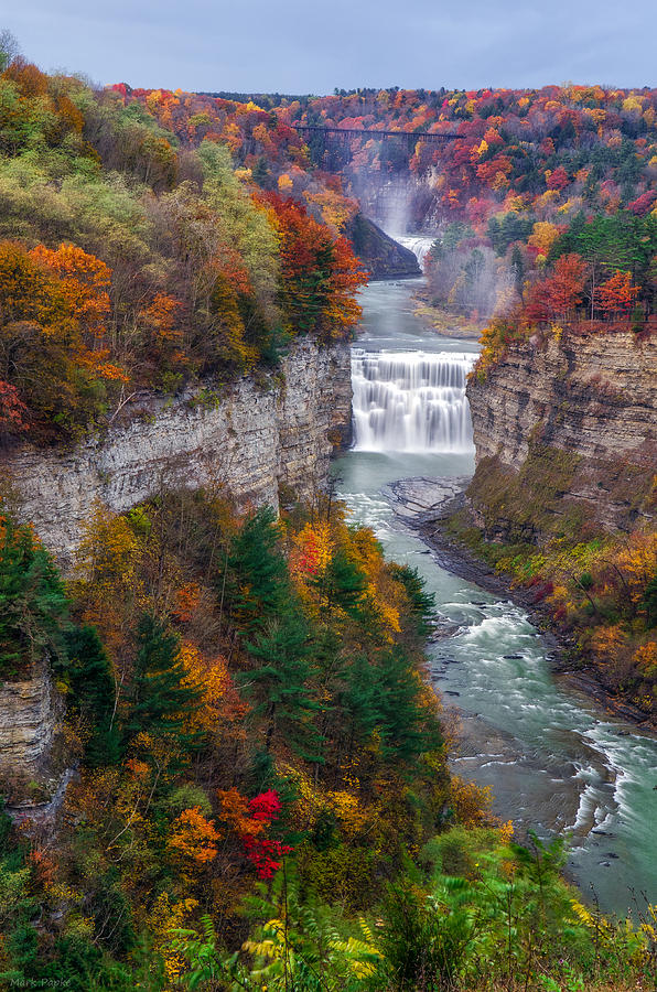 Middle Falls Of Letchworth State Park Photograph  - Middle Falls Of Letchworth State Park Fine Art Print