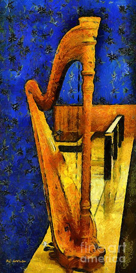 Harp Painting - Midnight Harp by RC DeWinter
