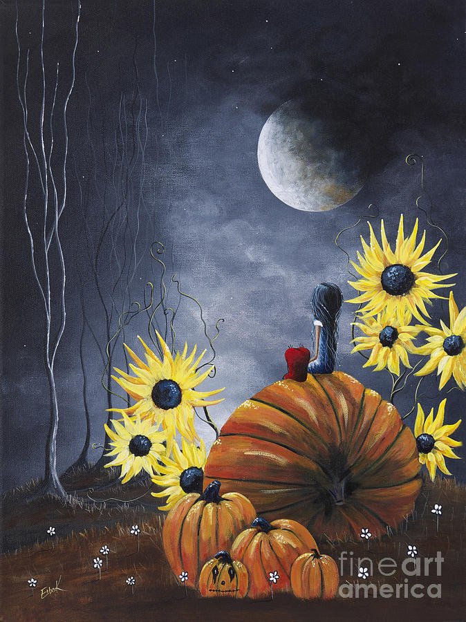 Midnight In The Pumpkin Patch By Shawna Erback Painting  - Midnight In The Pumpkin Patch By Shawna Erback Fine Art Print