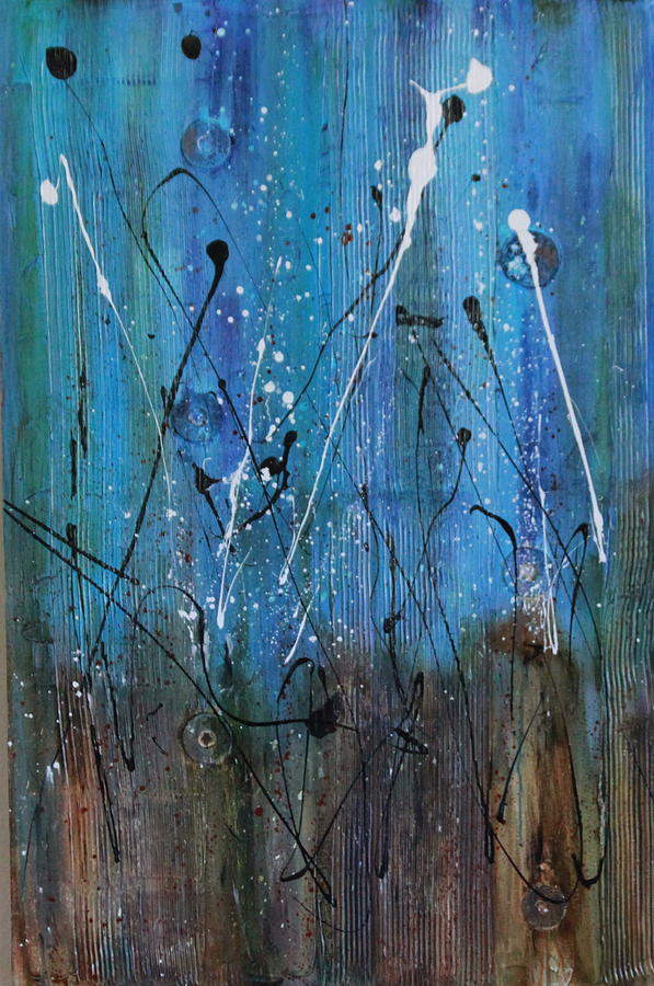Textured Contemporary Abstract Acrylic Painting In Rusts And Blues Painting - Starry Nights by Lauren Petit
