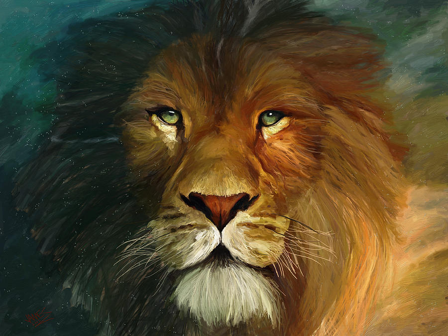 Midnight Lion Painting
