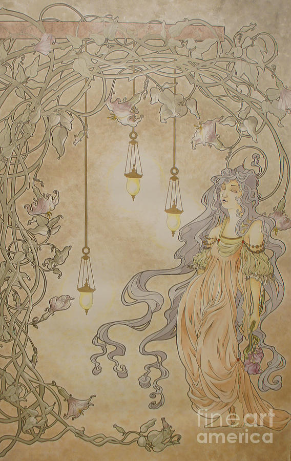 Art Nouveau Painting - Midsummer Nights Walk by Jaime Andrews