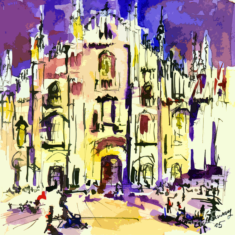 Milan Italy Cathedral Abstract Art By Ginette Painting  - Milan Italy Cathedral Abstract Art By Ginette Fine Art Print