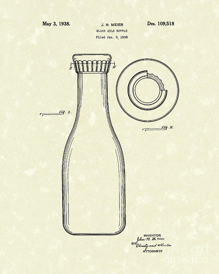 Milk Bottle 1938 Patent Art Drawing