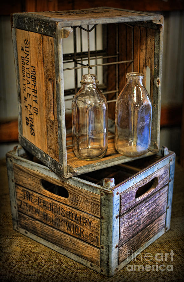 Milk Bottles And Crates Photograph