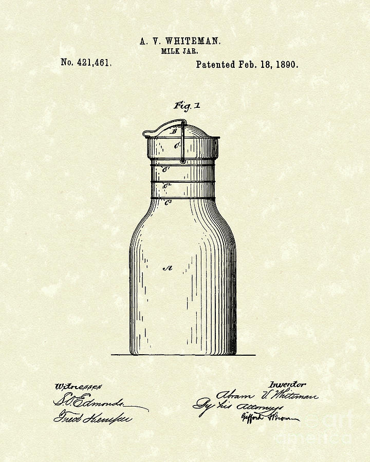 Whiteman Drawing - Milk Jar 1890 Patent Art by Prior Art Design