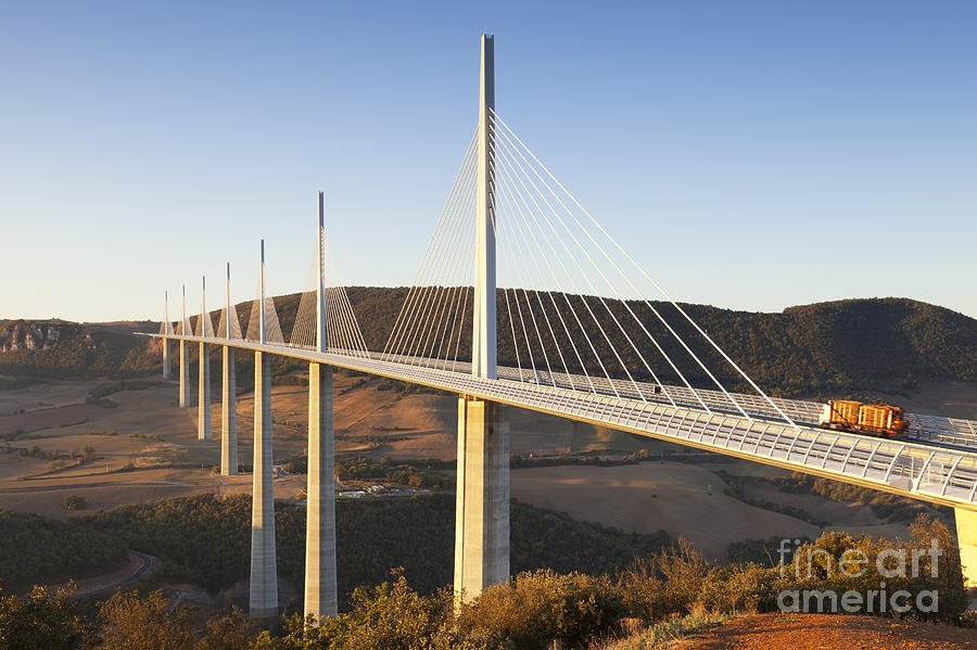Bridge Photograph - Millau Viaduct At Sunrise Midi Pyrenees France by Colin and Linda McKie