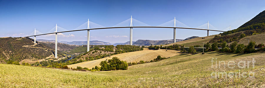 Millau Viaduct Panorama Midi Pyrenees France Photograph  - Millau Viaduct Panorama Midi Pyrenees France Fine Art Print