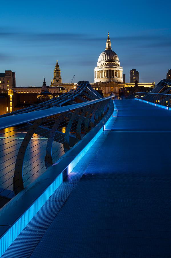 England Photograph - Millenium Bridge Blue Hour I by Adam Pender