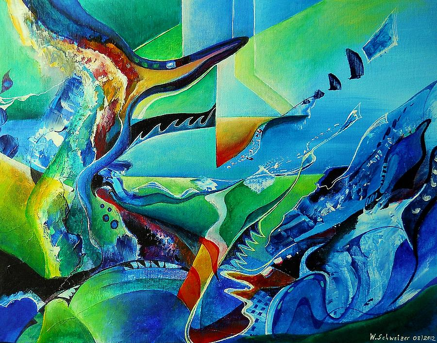 Abstract Acrylic Painting - mindscape no.2-Improvisation Saxophone and Piano by Wolfgang Schweizer