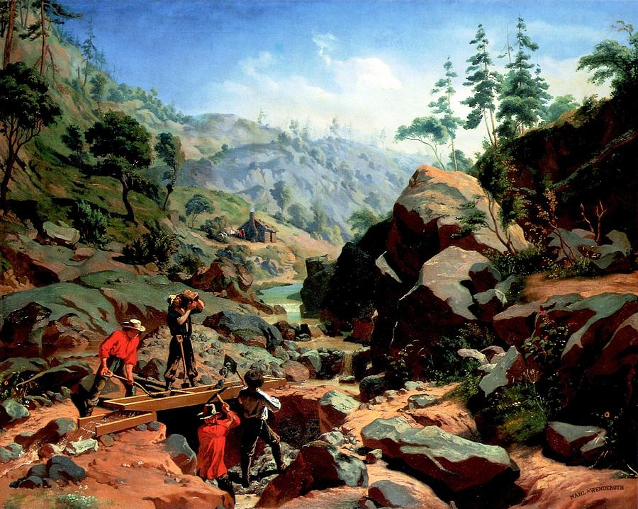 Miners In The Sierras Painting  - Miners In The Sierras Fine Art Print