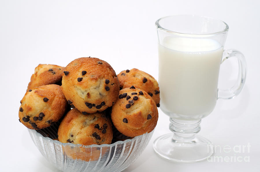 Mini Chocolate Chip Muffins And Milk - Bakery - Snack - Dairy - 1 Photograph  - Mini Chocolate Chip Muffins And Milk - Bakery - Snack - Dairy - 1 Fine Art Print